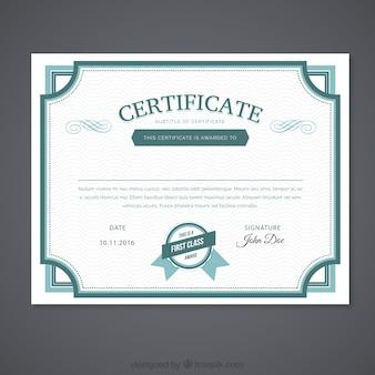Ornamental green certificate