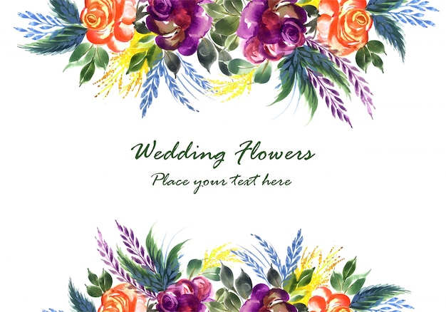 Ornamental hand draw colorful wedding flowers card template