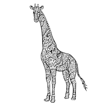 Ornamental hand drawn giraffe