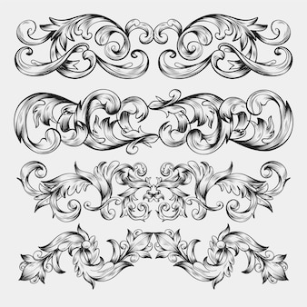 Ornamental hand drawn realistic border