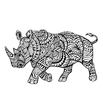 Ornamental hand drawn rhino