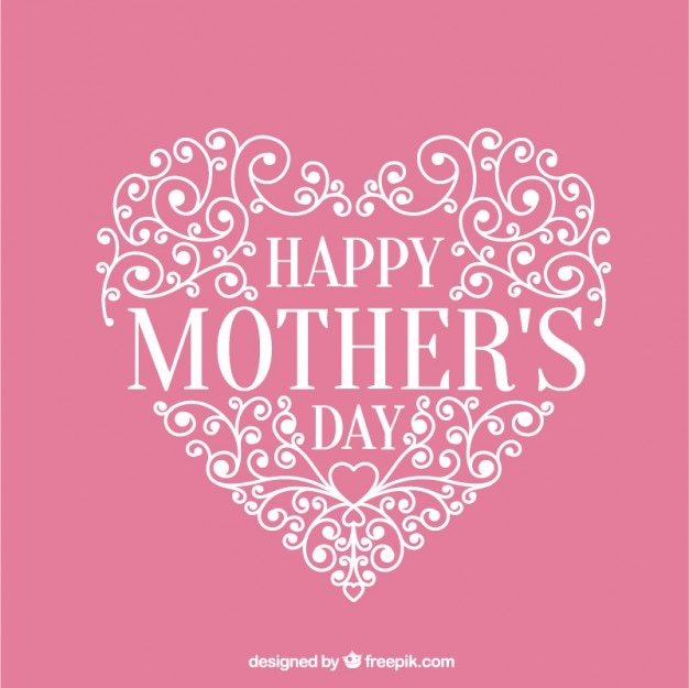 Ornamental heart pink card of mother's day