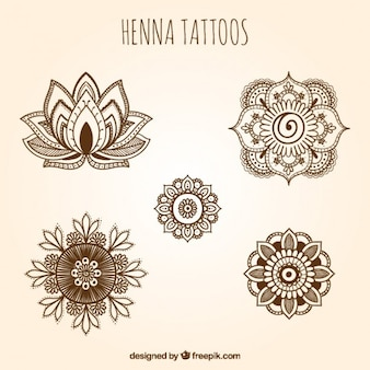 Ornamental henna tattoos set