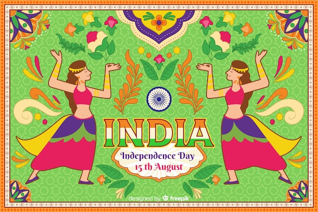 Ornamental india independence day background