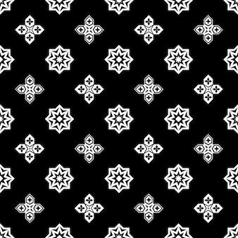 装飾用のイスラムの黒と白のシームレスなパターン