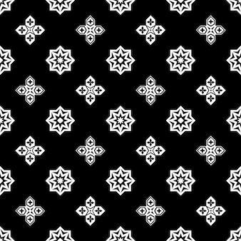 Ornamental islamic black and white seamless pattern