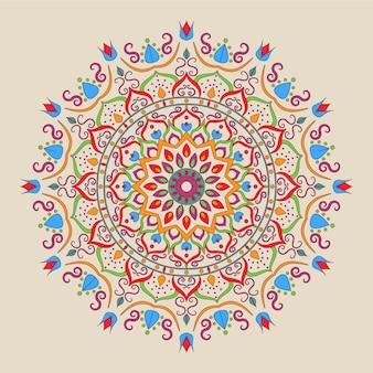 Ornamental islamic colorful mandala design on white background.