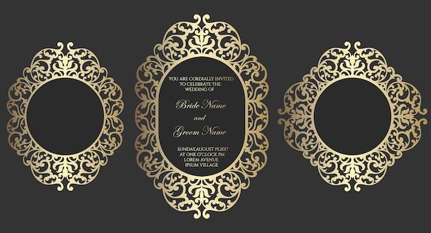 Декоративная лазерная резка свадебного приглашения. овальные и квадратные рамки.