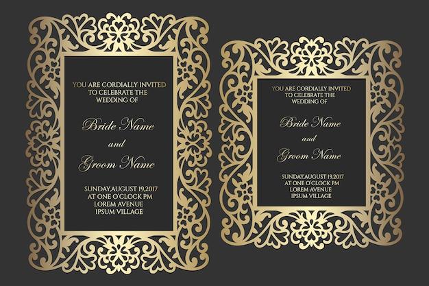 Ornamental laser cut frame wedding invitation.