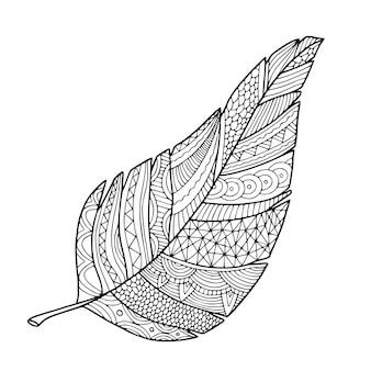 観賞用の葉のイラスト。手で書いた