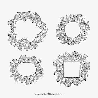 Ornamentali lascia cornici in stile doodle