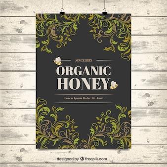 Декоративные листья органический мед плакат