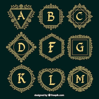Ornamental logos collection of capital letters