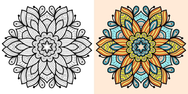 Ornamental mandala colouring book page for adults and children