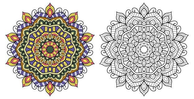 Ornamental mandala colouring book page
