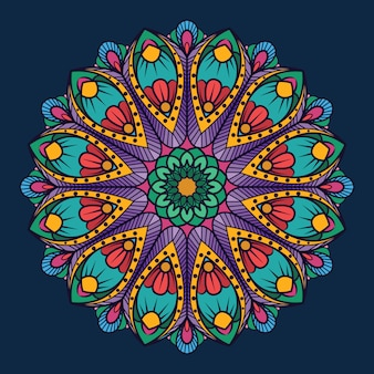 Ornamental mandala on dark blue background