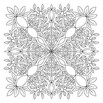 観賞用のマンダラ。線形飾りパターン。塗り絵のページ。