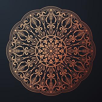 Орнаментальная мандала с золотым арабеском в цветочном исламском восточном стиле
