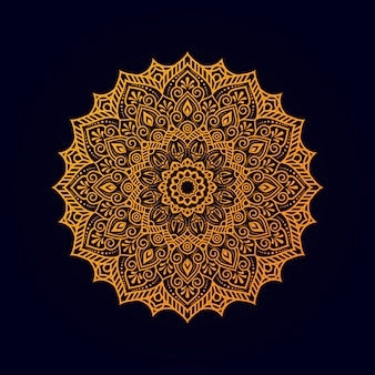 Ornamental mandala  with golden color
