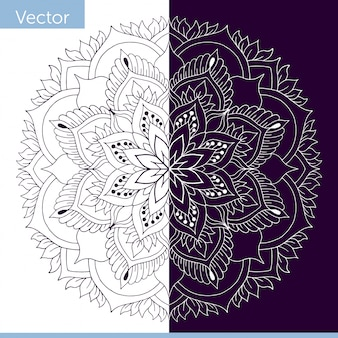 Ornamental mandala with plant elements. made in monochrome color. white and dark purple