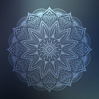 Декоративная мандала с серебряным арабеском в цветочном исламском восточном стиле