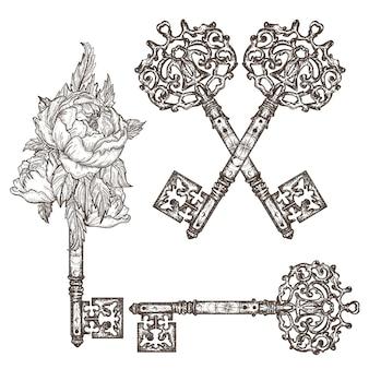 Декоративные средневековые старинные ключи