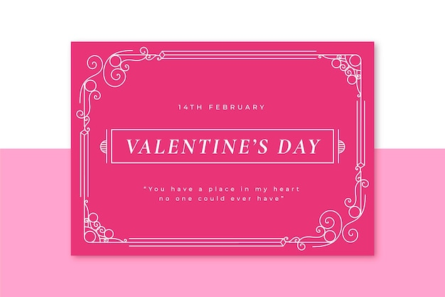 Ornamental monocolor valentine's day card