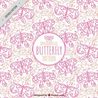 손으로 그린 나비 장식 패턴