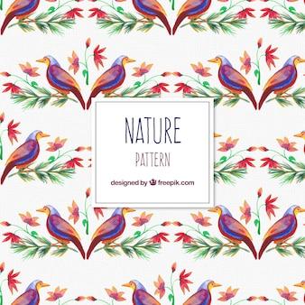 水彩画の鳥や花の観賞用パターン