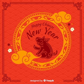 Ornamental pig chinese new year background
