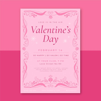 Ornamental poster valentine's day template