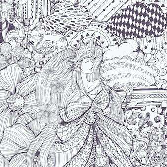 Ornamentali illustrazione della regina Vettore gratuito