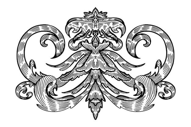 Ornamental realistic hand drawn border