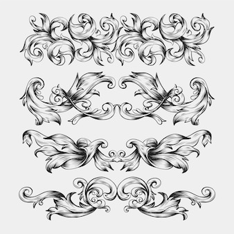 Ornamental realistic hand drawn border