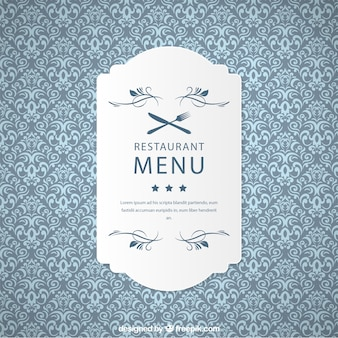 Ornamental restaurant pattern with label