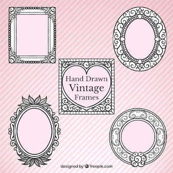 Ornamental retro hand drawn frames