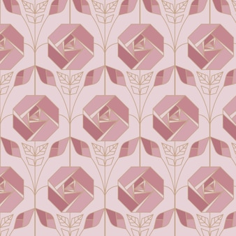 Ornamental rose gold art deco pattern