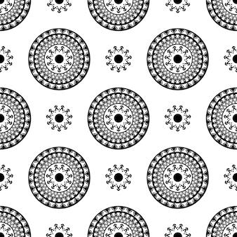 装飾的な丸い花の背景。デザインの壁紙、パターンの塗りつぶし、webページの背景、表面のテクスチャのシームレスなパターン。
