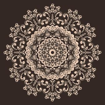 Орнаментальное круглое кружево с элементами дамаска и арабески.
