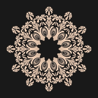 Ornamental round lace with damask and arabesque elements