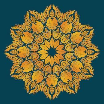 Pizzo rotondo ornamentale con elementi damascati ed arabeschi.