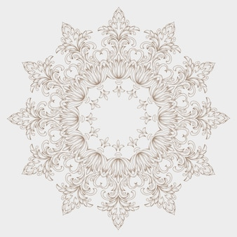 Ornamental round lace with damask and arabesque elements.