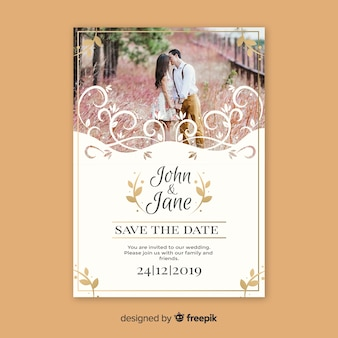 Ornamental save the date card template with photo
