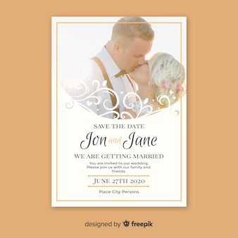 Ornamental save the date invitation template with photo