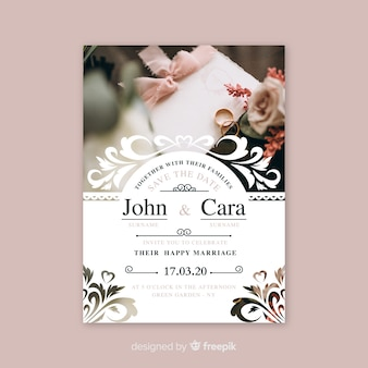 Ornamental save the date invitation with photo