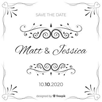 Ornamental save the date wedding invitatio