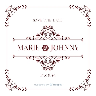 Ornamental save the date wedding invitation