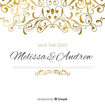 Ornamental save the date wedding invitation