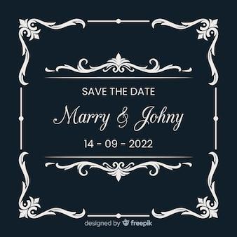 装飾的な日付の結婚式の招待状を保存