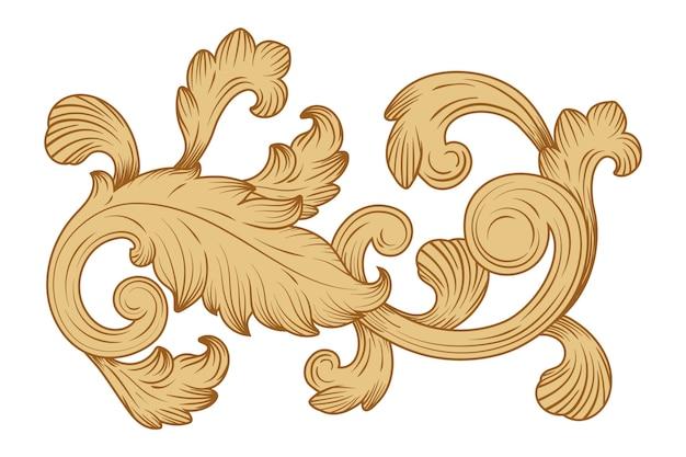 バロック様式の装飾的なセピア色の境界線